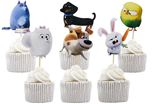 Price comparison product image Betop House 24pcs The Secret Life of Pets Themed Party Decorating Cake and Cupcake Toppers