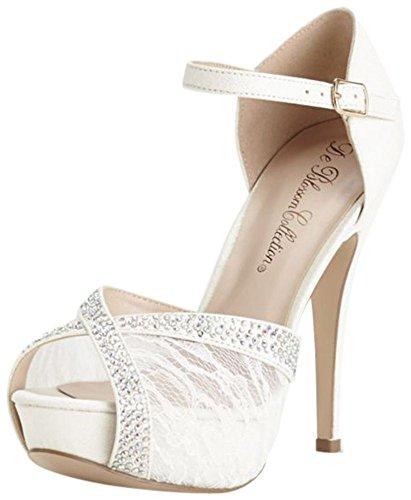 David's Bridal Lace and Rhinestone Platform Sandal Style DVICE98, White, 6
