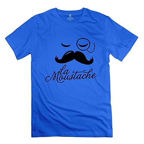 JeFF Men's Moustache Boss Style Face T-shirt RoyalBlue Medium