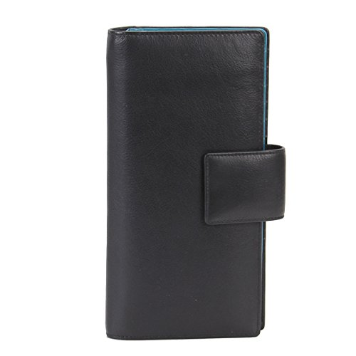 Jetset Large RFID Leather Card / Travel Wallet by Zoomlite (Black)