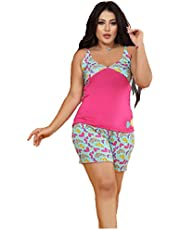 Summer Pajamas for Women Cotton Shorts and T-Shirt O-Neck Strap - Pink