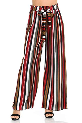 Auliné Collection Womens Accordion Pleated High Waisted Wide Leg Palazzo Pants - Warm Tone Stripe L/XL ()