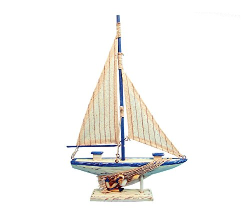 - Puzzled Cool Blue Sailboat Nautical Decor Size: 9x2x14.3 inches Handcrafted Quality Wooden Piece of Art Decorative Design Aquatic Ocean Theme Room Parties Artistic Marine Decor Great Gift/Souvenir