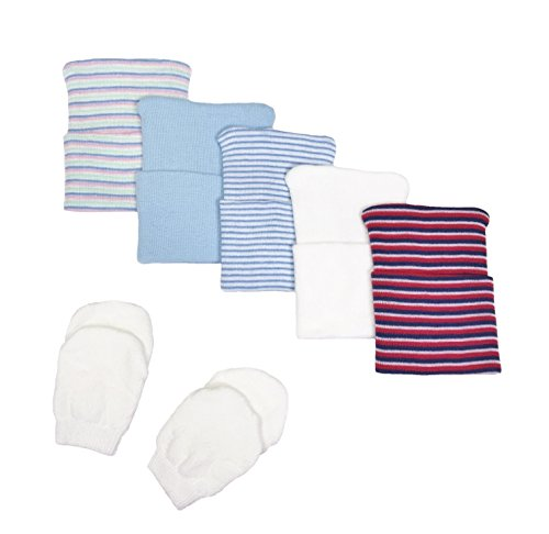 5 Piece Hospital Hat & Mitten Set for Newborn Baby (Boy) by Nurses Choice