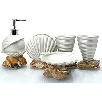 Exceptional Brandream Luxury Bathroom Accessories Elegant Resin Bathroom Set,5Pcs,Shell