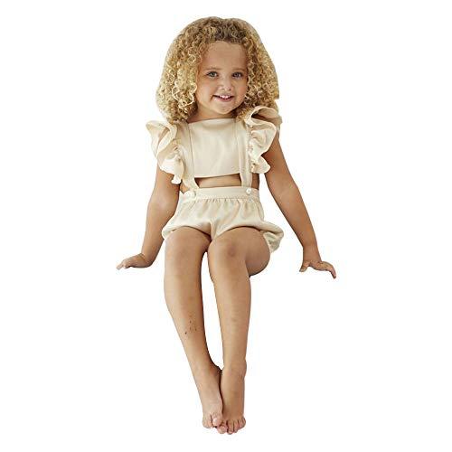Gonxifacai Toddler Kids Baby Girls Midriff-Baring Ruffle Straps Summer Romper Jumpsuit Sunsuit(Beige,18 Months)