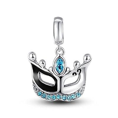 Glamulet Blue Swarovski Crystals Masquerade Dangle Charm 925 Sterling Silver Carnival Mask Pendant from Glamulet