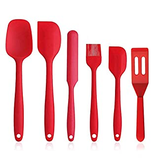 ShengHai Silicone Spatula Set, 6 Pieces Heat Resistant Rubber Kitchen Utensils with Spatulas, Cake Turner, Brush and Ladle, Non Stick and Great Grips Spatulas for Cooking Baking and Mixing (Dark Red)