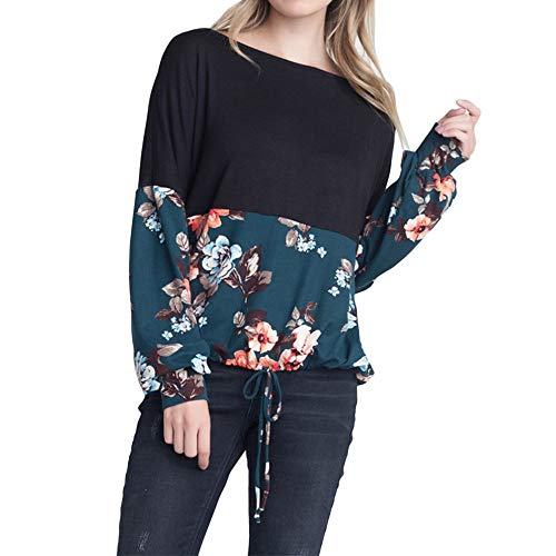 (KIKOY Women Long Sleeve Floral Print Loose Lace-up Black Casual Blouse Top)