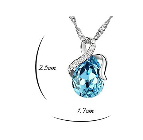 d943f015a857 Manchester Case Plata Azul ángel océano Tear Collar Eternal Love Lágrima  Cristal de Swarovski Colgante Collares para Las Mujeres  Amazon.es  Hogar