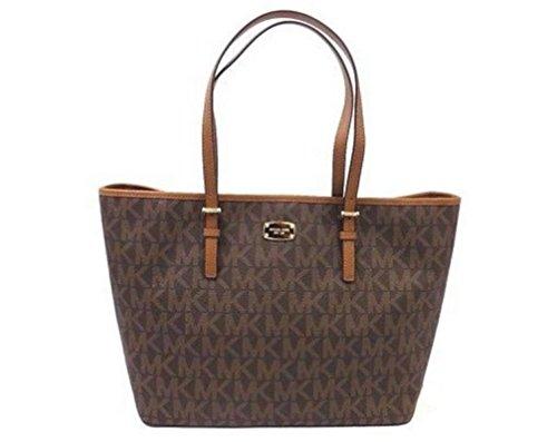 84e783bb5c4b Michael Kors Jet Set Travel Brown Large Carryall Tote MK Signature Bag by Michael  Kors