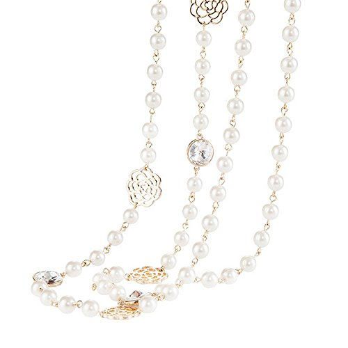 Winter's Secret Shell Bead Long Pattern Rococo Sweater Chain Necklace Plated Rose Flower Shape