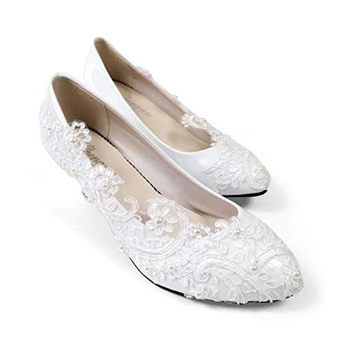 "Bridal Wedding Shoes Closed Toe Dress Pumps Stiletto Heel with Stitching Lace,2.2"" White"