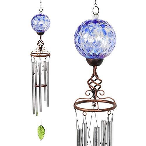(Exhart Solar Pearlized Blue Honeycomb Glass Ball Wind Chime with Metal Finial Detail, 5 by 46 Inches)