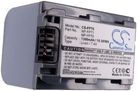 DCR-HC20 DCR-HC21 Battery DCR-DVD905E DCR-HC17 1360mAh Replacement for Sony DCR-DVD805E NP-FP70 NP-FP71 P//N NP-FP60