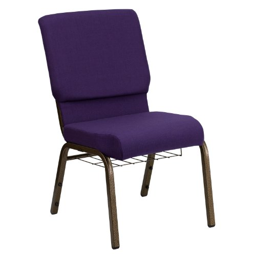 "18.5""W Church Chair in Royal Purple Fabric with Cup Book Rack – Gold Vein Frame"