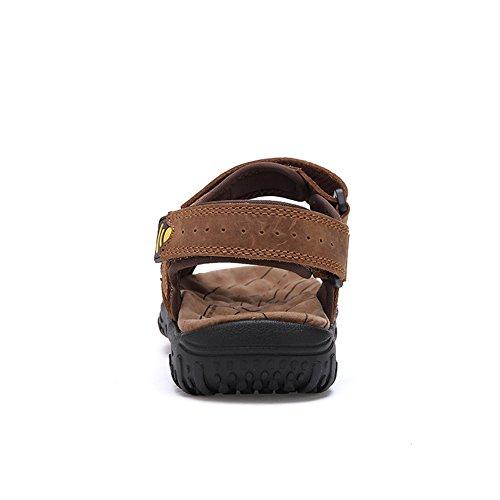 In All'aperto Toptak Uomo Per Cinturino Estate Pelle Marrone In Da Camminare Sandali Con Scarpe PwP7B1rq