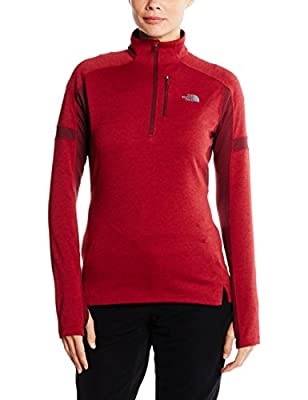 The North Face Women's Impulse Active 1/4 Zip Biking Red Deep Garnet Red Size Medium