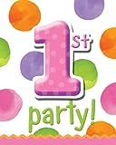 Creative Converting Big 1 Dots - Girl Invites - 8 ct