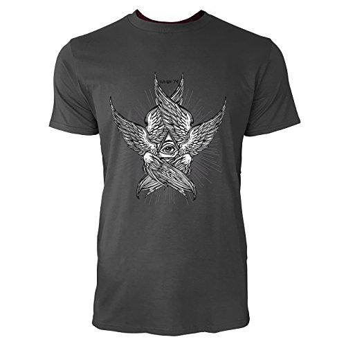 SINUS ART® Illuminaten Symbol mit Flügeln Herren T-Shirts in Smoke Fun Shirt mit tollen Aufdruck