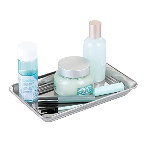 mDesign Metal Storage Organizer Tray for Bathroom Vanity Countertops, Closets, Dressers - Holder for Watches, Earrings, Makeup Brushes, Reading Glasses, Perfume, Guest Hand Towels - Polished ()