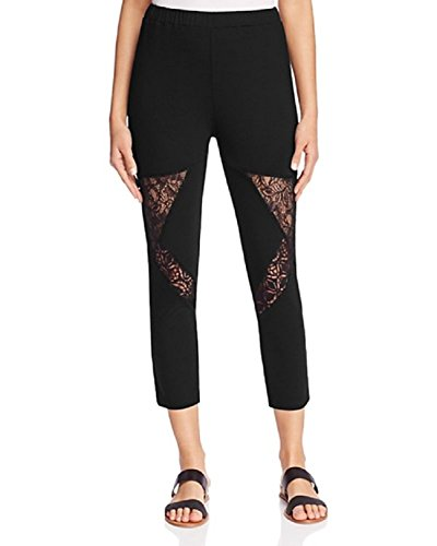 Finity Lace Inset Leggings (Black, 4) by Finity