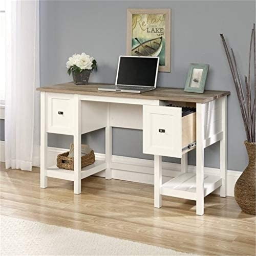 BOWERY HILL Soft White Small Home Office Computer/Writing Desk