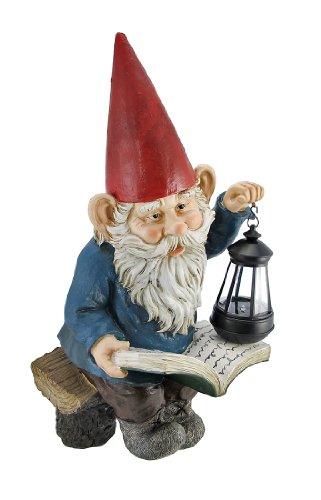 - Reading Garden Gnome W/ Lantern Outdoor Statue