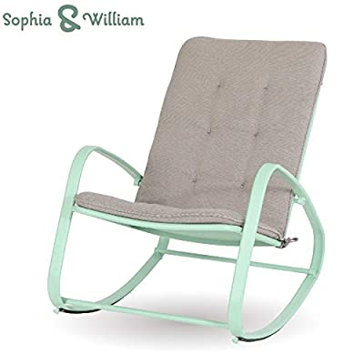 """Sophia and William Outdoor Patio Rocking Chair Padded Steel Rocker Chairs Support 300lbs, Green - Versatile High Back Outdoor Rocking Chair: Simple and stylish design, suitable for indoor & outdoor use like patio, deck, poolside, porch, backyard, balcony, garden. Ideal place for reading or a nap Comfortable & Breathable: The patio rocker provides capacious space, with soft and removable pad. Footrest bar frees your body from ground eliminating fatigue when rocking back and forth. Mesh design for back and seat perfectly avoids heat accumulation or sweat in summer Sturdy & Rust-Proof Patio Chairs: Reinforced powder coated steel frame (main frame tube size; 15.7""""L*5.5H"""") is anti-rust, supports up to 300 lbs - patio-furniture, patio-chairs, patio - 41Lk3n11a8L. SS400  -"""