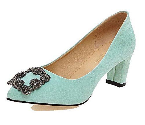 VogueZone009 Damen Spitz Zehe Ziehen auf Nubukleder Rein Mittler Absatz Pumps Schuhe Grün