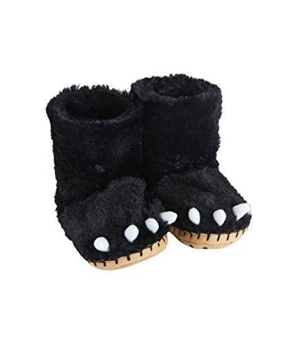 Little Blue House by Hatley Kids Hi-top Slouch Animal Slipper, Black Bear Paws, Large (11-13) by Little Blue House by Hatley