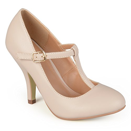 20s Womens Shoes (Brinley Co Women's Nelzen 3 Dress Pump, Nude Smooth, 7.5 M)