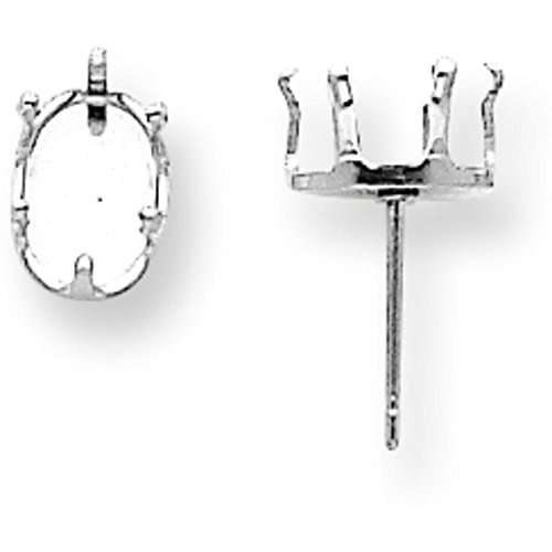 Sterling Silver 6 Prong Oval Snap In Earring Setting 6x4mm (6x4mm Oval Ring Setting)