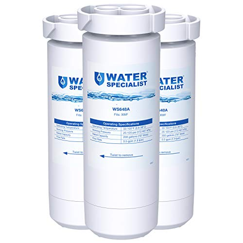 Waterspecialist XWF Refrigerator Water Filter, Replacement for GE XWF, GE Refrigerator Models Starting with GBE21, GDE21, GDE25, GFE24, GFE26, GNE21, GNE25, GNE27, GNE27, GWE19 (Pack of 3)