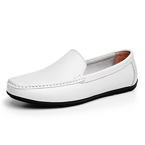 Transpirable para Sólidos On Blanco Hombres Planos Slip al para Conducción de Mocasines de Zapatos para Aire Hombres Zapatos Hombres Negro Cuero Dividido Botia Libre Mocasines fOPcz