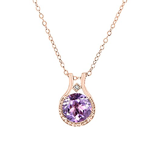 (14K Rose Gold over Sterling Silver Diamond and Amethyst Halo Pendant Necklace (3.00 CTW), 18'', Jewelry for Women )