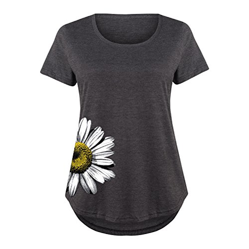 Daisy Side Hit - Ladies Plus Size Scoop Neck Tee Heather Charcoal
