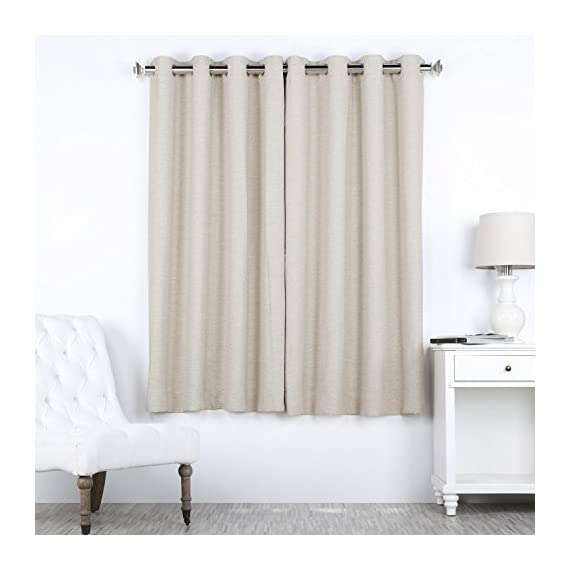 "HPD Half Price Drapes BOCH-PL4201-63-GR Bellino Grommet Blackout Room Darkening Curtain (1 Panel), 50 X 63, Cottage White - Sold Per Panel 100% Polyester Finished With 8 Nickel Finish Grommets (1-5/8"" Opening) - living-room-soft-furnishings, living-room, draperies-curtains-shades - 41Lk5Mgz5DL. SS570  -"
