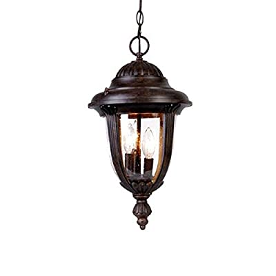 Acclaim 3526BC Monterey Collection 3-Light Outdoor Light Fixture Hanging Lantern, Black Coral