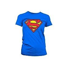 Superman T Shirt Shield new Official DC Comics Womens Skinny Fit Blue