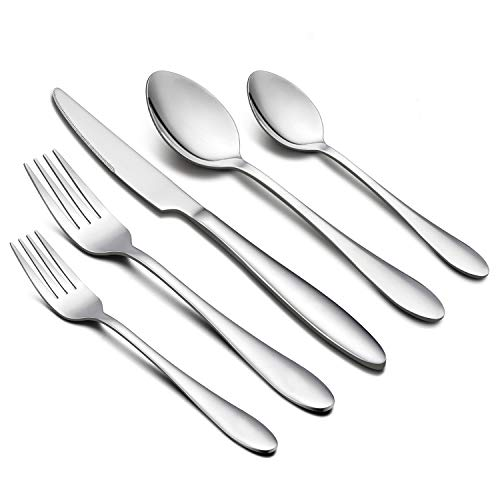 30-Piece Silverware Set, HaWare Stainless Steel Modern Elegant Flatware Cutlery Set, Service for 6, Dinner Knives/Spoons/Forks, Mirror Polished, Dishwasher Safe ()