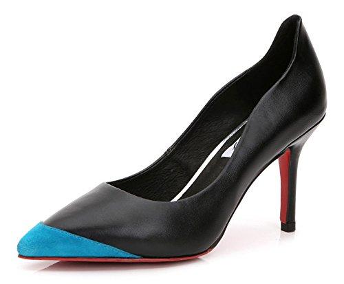 Aisun Femmes Slip Coupe Basse Sur La Robe Professionnelle Haute Talons Aiguilles Bout Pointu Pompes Chaussures Bleu