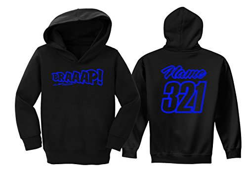 - JUST RIDE Braaap Toddler Youth Hoodie Sweat Shirt Motocross Number Plate Custom Personalized (5/6, NEON Blue)