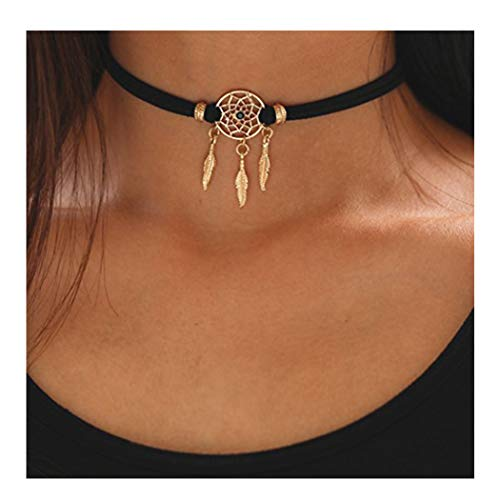 Edary Baroque Black Choker with Crystal Gold Leaf Dream Catcher Clavicle Necklace Jewelry for Women and Girls