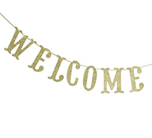 Qttier Welcome Gold Glitter Banner for First Day of School Teacher Banner Classroom Decor Decoration Home Schoolyard Party Supplies Cursive Bunting Photo Booth Props Sign]()