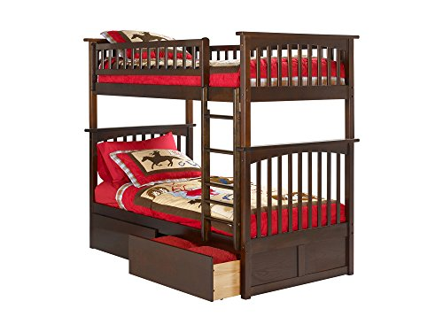 Columbia Bunk Bed with 2 Flat Panel Bed Drawers, Twin Over Twin, Antique Walnut (Youth 2 Drawer)