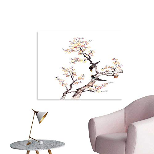 J Chief Sky Art Wall Decoration Traditional Chinese Paint of Flowers Plum Blossom Birds on Tree Romance Print Wallpaper Mural W24 -