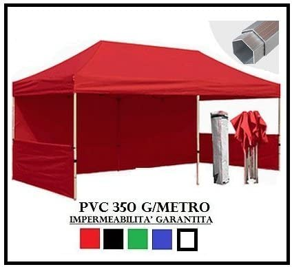 Cenador plegable rojo aluminio hexagonal 40 mm 3 x 6 + 4 toallas ...