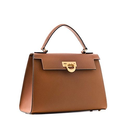 Carbotti Bellino Palmellato Italian Leather Grab Handbag, celebrity, wedding bag - Tan by Carbotti