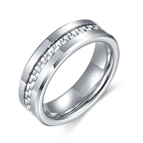 YAN & LEI Tungsten Carbide with Silver Carbon Fibers Inlay Wedding Band Ring for Men Women Polished Finish Comfort Fit Edges 6mm US 10 ()